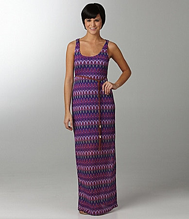 Ruby Rox Printed Lace Maxi Dress