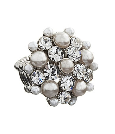 Anna & Ava Crystal & Pearl Domed Stretch Ring