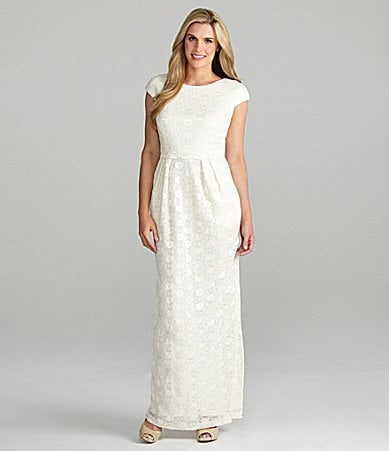 Alex Evenings Cap-Sleeve Sequin Lace Gown