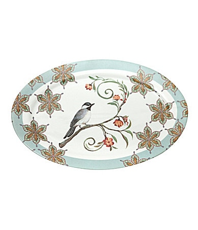 Prima Donna Designs Morning Song Platter with Blue Rim