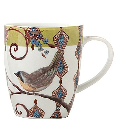 Prima Donna Designs Morning Songs Mug with Green Rim in Gift Box