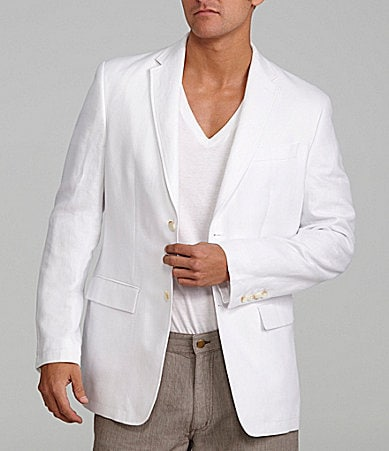 Perry Ellis Linen-Cotton Blend Herringbone Jacket
