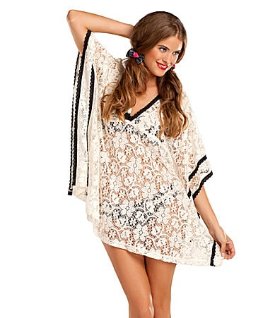 Betsey Johnson Lace is More Poncho Coverup