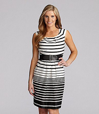 Tahari by ASL Striped Belted Dress