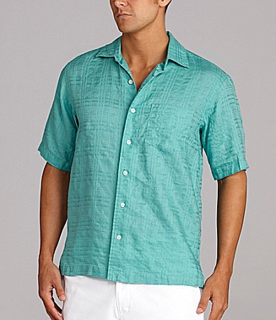 Caribbean Solid Plaid Texture Shirt