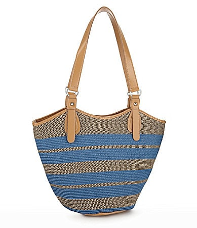 Magid Mix Stripe Straw Bucket Tote
