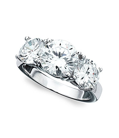 Crislu Cubic Zirconia Three-Stone Ring