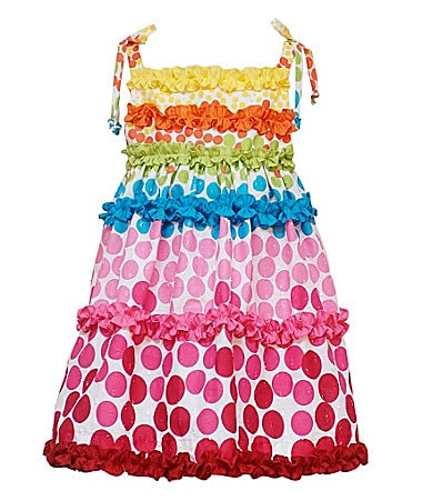 Rare Editions 2T-6X Rainbow Dot Print Dress