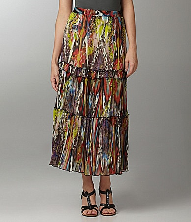 Calessa Abstract Animal-Print Maxi Skirt