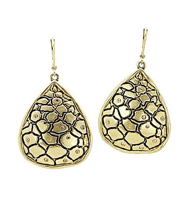 T Tahari Python Gold Collection Pear Drop Earrings
