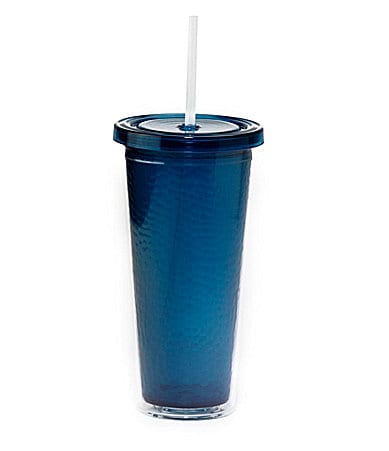 Hammered Tumbler with Straw