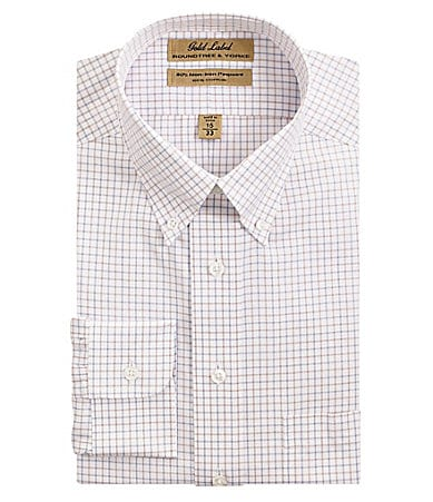 Roundtree & Yorke Gold Label Checked Button-Down Collar Dress Shirt
