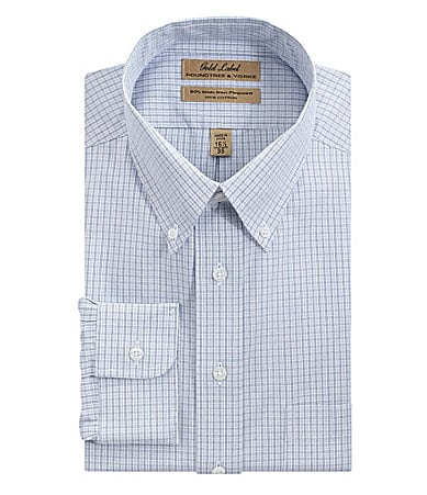 Roundtree & Yorke Gold Label Plaid Button-Down Collar Dress Shirt