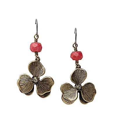 Fossil Brass Flower Drop Earrings
