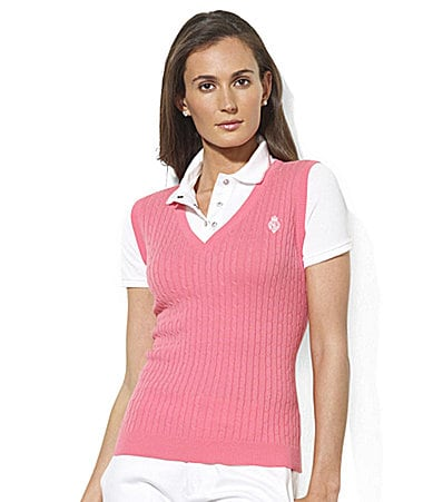 Lauren Active Luisha Short-Sleeved Cable-Vest Polo