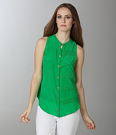Aryn K. Pleat Button-Front Blouse