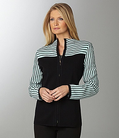 Exclusively Misook Stripe-Yoke Zip-Front Jacket