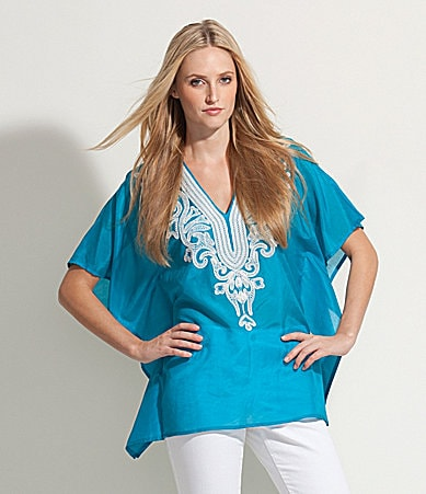 Karen Kane Embroidered Kimono-Sleeve Top