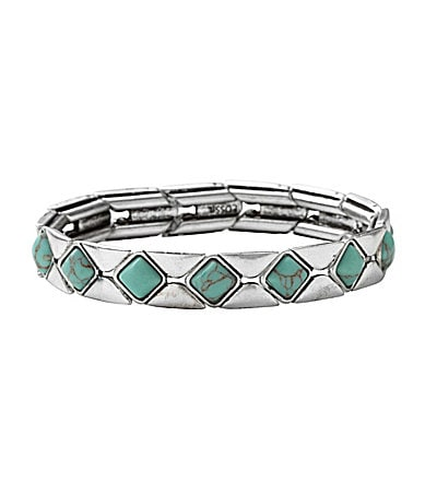 Fossil Diamond Turquoise Stretch Bracelet