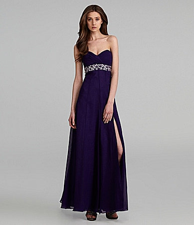 JS Collections Strapless Beaded Gown