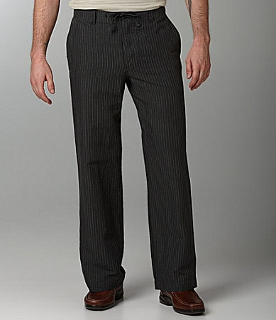 Perry Ellis Linen-Cotton Blend Variegated Striped Pants