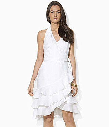 Lauren Ralph Lauren Cambria Sleeveless Linen Wrap Dress
