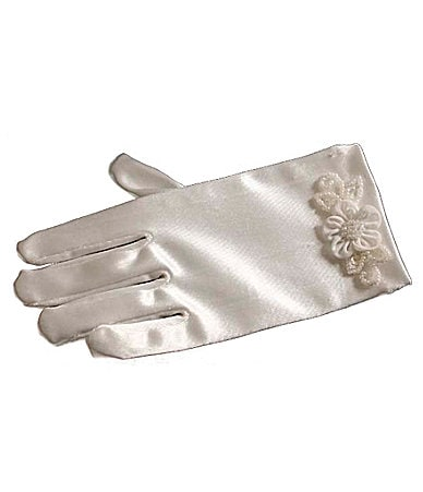 Bonnie Jean Flower-Trim Satin Gloves
