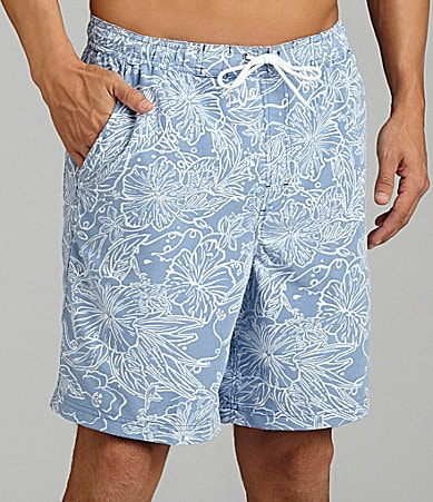 Caribbean Cool Reverse Print Swim Trunks