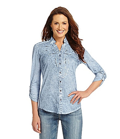 Reba Catalina Roll-Tab Chambray Shirt