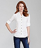 Reba Tahiti Embroidered Roll-Tab Shirt