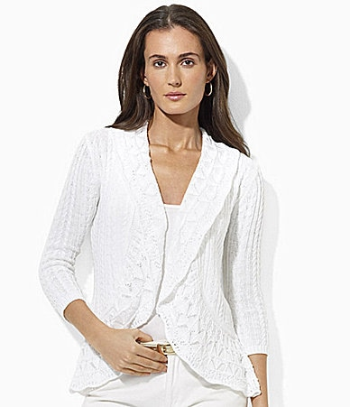 Lauren Ralph Lauren Velika Cotton Pointelle Shawl Cardigan