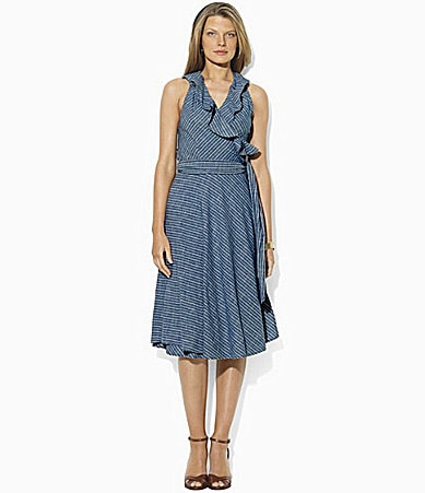Lauren Jeans Co. Vickie Striped Chambray Wrap Dress