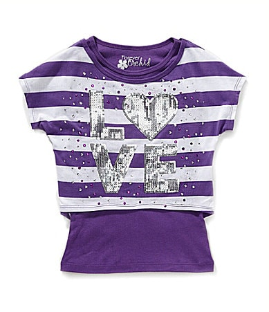 Forever Orchid Girls 7-16 Love Stripe Popover Top