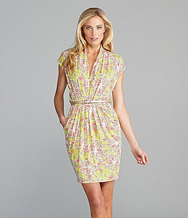 AK Anne Klein Belted Floral Print Dress