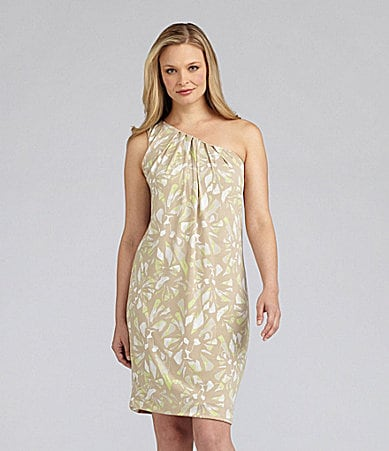 AK Anne Klein Floral One-Shoulder Dress