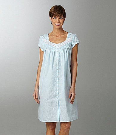 Eileen West Seersucker Short Button Front Gown