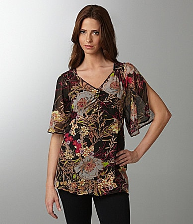 Black Rainn Floral-Print Top