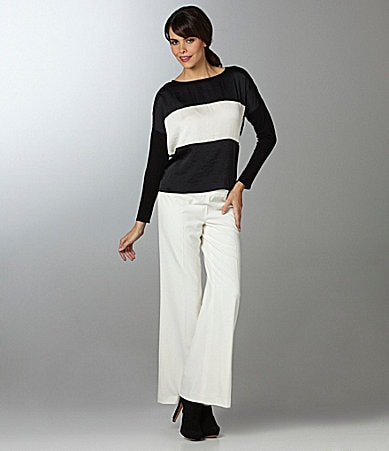 Vince Camuto Mixed-Media Colorblock Blouse & High-Waist Wide-Leg Pants