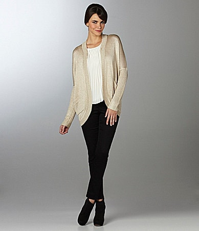 Vince Camuto Cocoon Back-Zip Cardigan, Crystal Pleated Blouse & Signature Skinny Jeans