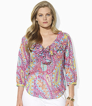 Lauren  Ralph Lauren Woman Anneke Paisley Cotton Voile Ruffle Top