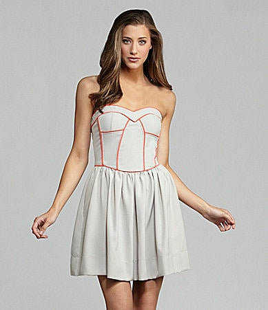 Sugar Lips Strapless Piped Dress