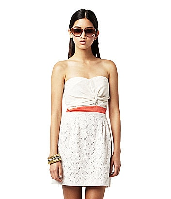 Greylin Shane Strapless Foil Lace Dress