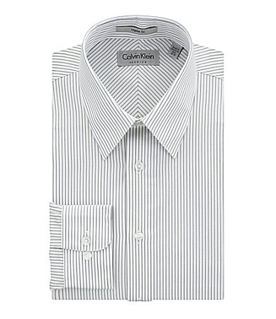 Calvin Klein Striped Spread-Collar Dress Shirt