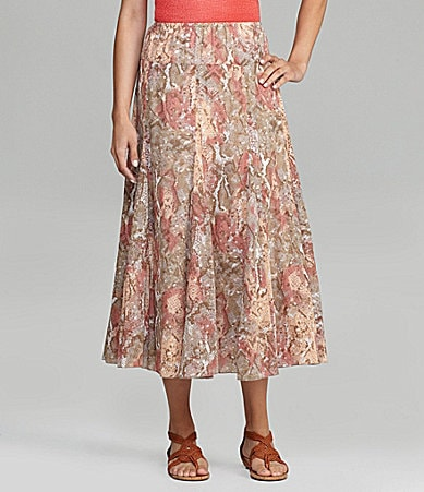 Ruby Rd. Python-Print Long Skirt