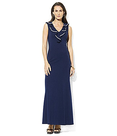 Lauren by Ralph Lauren Petites Kooba Ruffle Maxi Dress