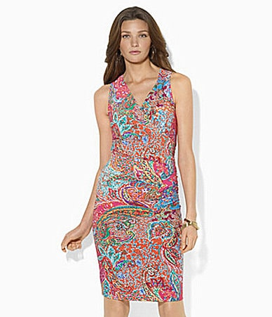 Lauren Ralph Lauren Petites Paisley Faux-Wrap Dress