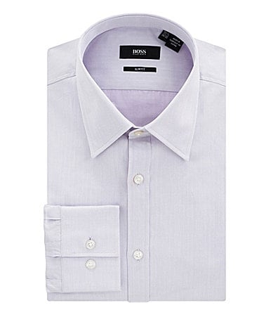 Boss Black Herringbone Spread-Collar Dress Shirt