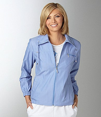Allison Daley  II Zip-Front Crinkle Microfiber Jacket
