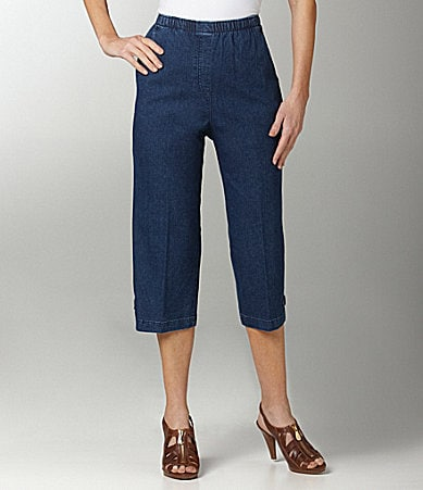Allison Daley Petites Mock-Fly Pull-On Denim Capri Pants