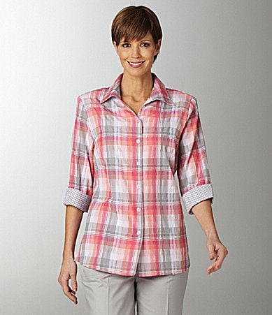 Allison Daley Petites Textured Plaid Camp Shirt